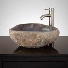 Unique Sinks by Kydulime Light Gray River Stone Vessel Sink Vessel Sinks