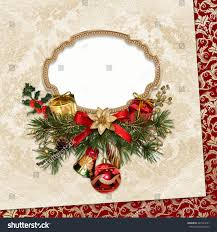 vintage christmas card frame pine branches stock photo 347291657
