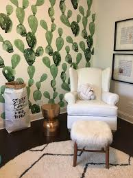 west elm rug cactus wallpaper by anewall pottery barn rocking chair and west