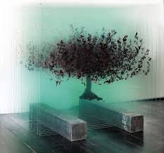 three dimensional trees formed with layers of painted glass