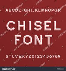 chisel alphabet vector font type letters stock vector 626914286