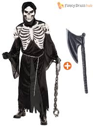 mens deluxe grim reaper mask axe costume skeleton halloween