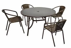 table ronde et chaises 4 chaises bistro empilable table ronde verre ø 120 cm francky