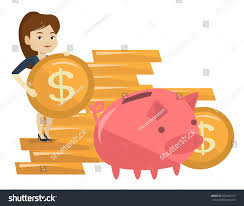 his and piggy bank awesome business woman putting money big piggy stock vector pics