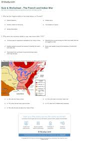 america map before and after and indian war quiz worksheet the and indian war study