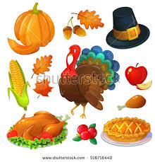 thanksgiving turkey decoration set thanksgiving icons colorful greeting stock vector
