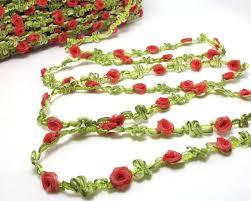 ribbon trim 2 yards woven rococo ribbon trim with flower buds
