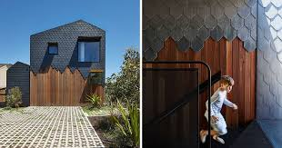 dark grey slate creatively covers this australian home contemporist