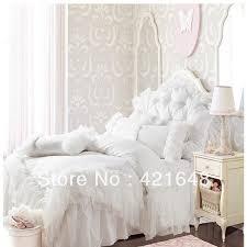 solid white comforter set free shipping romantic white pink falbala ruffle lace bedding set