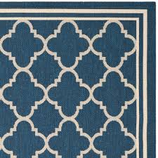 Outdoor Rugs Overstock Safavieh Indoor Outdoor Courtyard Navy Beige Rug 4 X 5 7