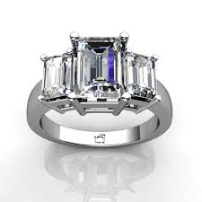 emerald stones rings images 14kt white gold three stone emerald cut diamond ring union diamond jpg