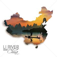 Guilin China Map by Double Exposure Of China Map And Li River Vector Image 1607577