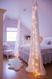 White Curtains With Pom Poms Decorating Decorate Your Bedroom With Some Lights And Sheer