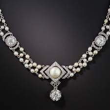 diamond pearl necklace images Belle epoque diamond and natural pearl necklace jpg