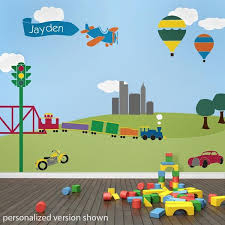 Transportation Theme Kids Wall Mural Stencils Nursery Mural - Kids rooms murals