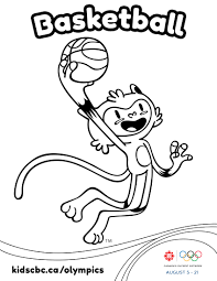olympic games colouring sheet basketball play free