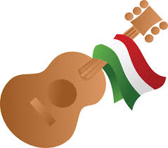 clipart of a mexican flag draped on a guitar
