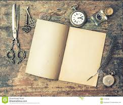 writing journal paper open journal book and vintage writing tools on wooden table stock royalty free stock photo