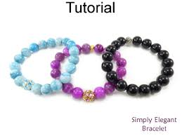 easy beaded stretch bracelet with gemstones for beginners jewelry