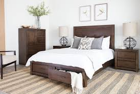 riley brownstone queen panel bed w storage living spaces