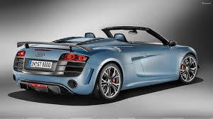 Side Back Pose Of 2011 Audi R8 Gt Spyder In Blue Wallpaper