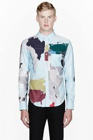 World Map Jacket by Band Of Outsiders Sky Blue World Map Dress Shirt In Blue For Men