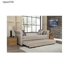 upholstered linen twin trundle daybed tan modern backless sofa