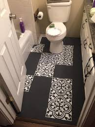 Linoleum For Bathroom Woman Covers Her Bathroom Floor With Hand Drawn Tiles
