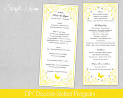 print at home wedding programs lemon print etsy