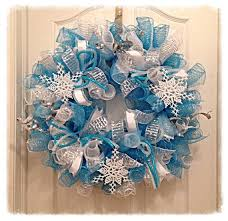 mesh christmas wreaths snowflake turquoise and silver deco mesh from ckdazzlingdesign on