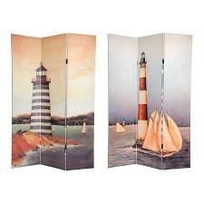 Nautical Room Divider Sided 6 Ft Lighthouses Room Divider 3 Panels Divider