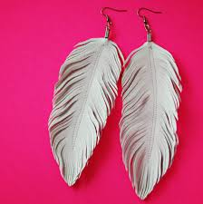 80s feather earrings dove white feather earrings faux leather white feather bridal