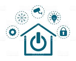 contemporary residence on home automation and security vector