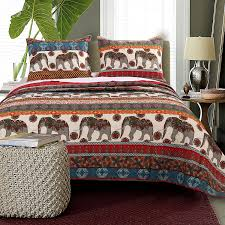 red tribal indian elephant bedding twin full queen king quilt set