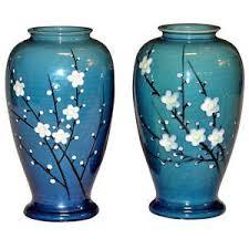 Antique Ceramic Vases Pair Old Antique Japanese Awaji Enamelled Prunus Cherry Blossom