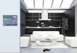 cuisine domotique panneau de commande de domotique sur le mur de cuisine