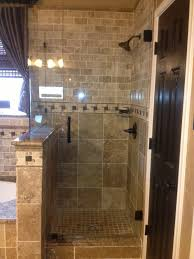 travertine tile shower like the combo of brick and 12x12 tile and