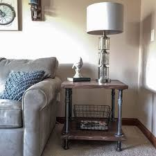 industrial wood and pipe end table rustic end table industrial