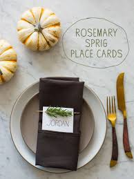 making thanksgiving cards rosemary sprig place cards diy place cards spoon fork bacon