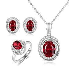 red stones necklace images Guiji red stones jewelry set zircon surrounded ruby jpg