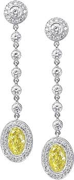 diamonds earrings 3 25ct 18k white gold fancy yellow oval diamond earrings jd57465