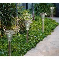 solar led walkway lights set of 4 steel finish 5 wide solar led landscape lights m2322