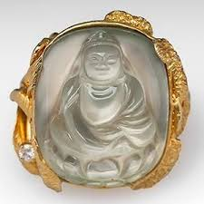 moonstone buddha carved moonstone buddha cocktail ring w sculpted shank 14k gold