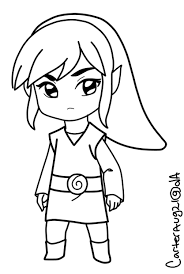link chibi coloring pages