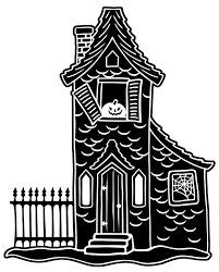 halloween black white house print drawing halloween horror