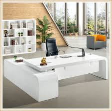glossy white latest office table designs for office counter table