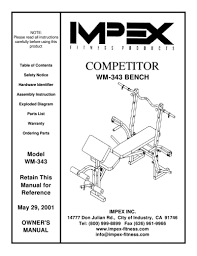 Competitor Workout Bench Search Impex User Manuals Manualsonline Com