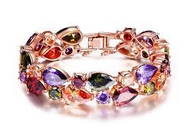 swarovski crystal gold plated bracelet images Crystal 39 party queen 39 multicoloured bracelet rose gold plated jpg