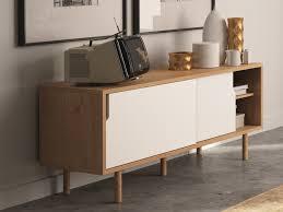 Buffet bas Meuble TV en bois avec 2 portes coulissantes L135 cm