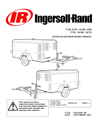 ingersoll rand portable diesel compressor operation manual valve